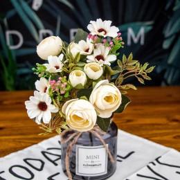 Jesień fałszywa herbata różowy jedwabny kwiat spadek stokrotka gerbera sztuczny plastikowy kwiat na ślub akcesoria domowe dekora