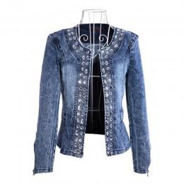 FMFSSOM 2020 nowa dostawa na wiosnę Antumn Denim kurtki Vintage diamenty płaszcz na co dzień damska kurtka dżinsowa na odzież wi