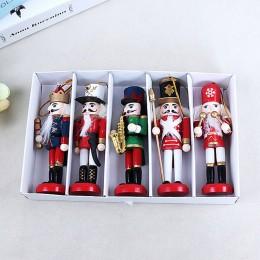 Wystrój nowego roku lalka dla dzieci 1 sztuk 12cm drewniany dziadek do orzechów żołnierz dekoracje na święta bożego narodzenia o