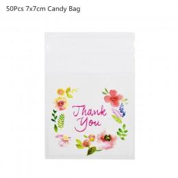 50/100Pcs plastikowe torby dziękuję Cookie i worek na cukierki samoprzylepne na ślub prezent urodzinowy torba do pieczenia ciast