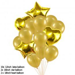 14 sztuk/zestaw 18 cali serce gwiazda balon foliowy 12 cali konfetti lateksowe balony wesele dekoracji Kid urodziny dzieci dosta