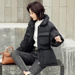 Kurtki damskie kobieta parka kurtka zimowa krótka generacja talia nowa duża kieszeń kobiet luźny płaszcz dół kurtki 616