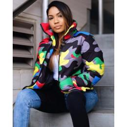 ANJAMANOR kamuflaż drukuj kurtka zimowa kobiety 4XL Plus rozmiar warstwa bąbelkowa ponadgabarytowa kurtka pikowana na zimę moda