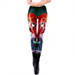 [Jesteś moim sekretem] 2019 nowe legginsy Halloween cukrowa czaszka legginsy dla kobiet dziewczyna nadruk z różą fantastyczne Wo