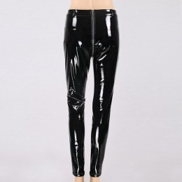 NORMOV kobiety Sexy błyszczące PU skórzane legginsy z powrotem zamek Push Up spodnie ze sztucznej skóry guma lateksowa spodnie J