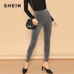 SHEIN srebrny efektowny elastyczny pas Sparkle Maxi legginsy wiosna kobiety Streetwear Casual rozciągliwe jednolite legginsy spo