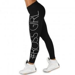 Kobiety czarne spodnie podnieś Squat legginsy z nadrukami moda wysokiej talii Fitness legginsy Casual oddychające Plus rozmiar m