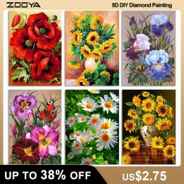 ZOOYA DIY 5D kwiaty na płótnie diamentowym pełny haft diamentowy kwiaty diament mozaika kwiat z kryształkiem zdjęcia Home Decor