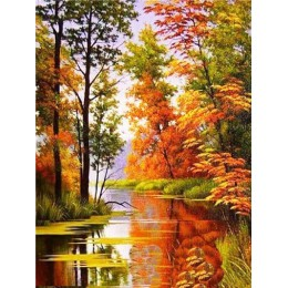 HUACAN 5D diamentowa malowana pełna okrągła diamentowa mozaika krajobrazowa diamentowa haftowana sprzedaż jesienna sceneria