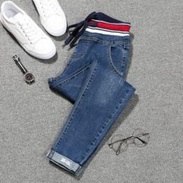 Jeansy ze streczem mujer plus rozmiar spodnie z koronką dżinsy damskie duże rozmiary denim elastyczna łatka harlan mankiet ołówe